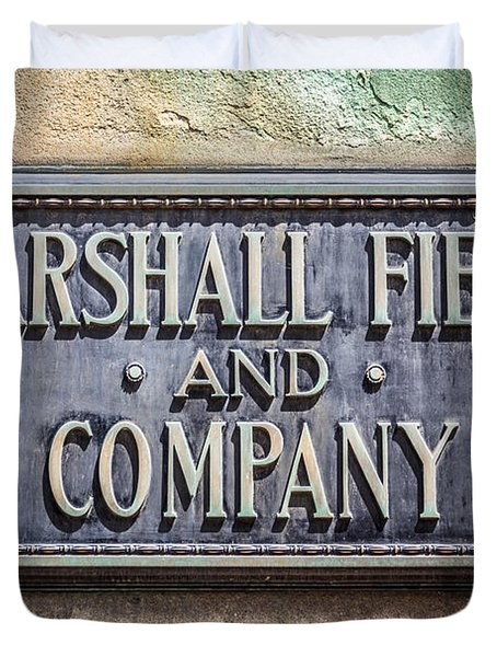 Marshall Field And Company Sign In Chicago Duvet Cover by Paul Velgos