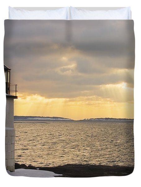 Marshall Point Lighthouse In Winter Maine  Duvet Cover by Keith Webber Jr