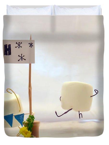 Marshmallow Marathon Duvet Cover by Heather Applegate