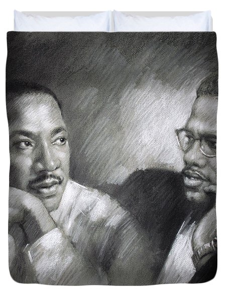 Martin Luther King Jr and Malcolm X Duvet Cover by Ylli Haruni