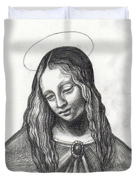 Mary After DaVinci Duvet Cover by Genevieve Esson