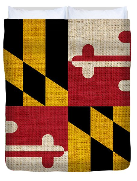 Maryland state flag Duvet Cover by Pixel Chimp