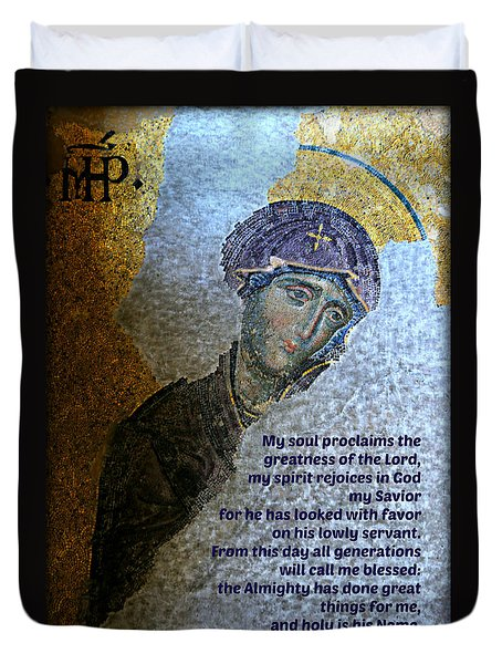 Mary's Magnificat Duvet Cover by Stephen Stookey