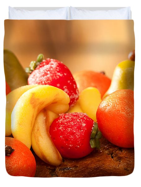Marzipan Fruits Duvet Cover by Amanda Elwell