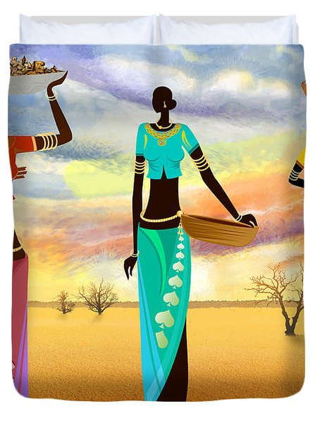 Masai Women Quest For Grains Duvet Cover by Bedros Awak
