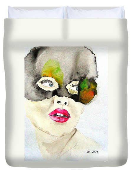 Mask In Watercolor Duvet Cover by Jacqueline Schreiber