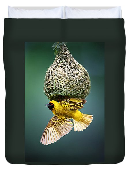Masked Weaver At Nest Duvet Cover by Johan Swanepoel