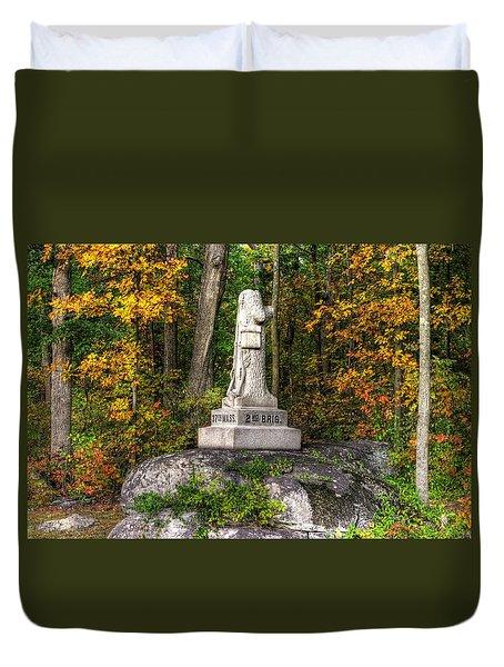 Massachusetts At Gettysburg - 37th Mass. Infantry Autumn Early-evening Sedgwick Avenue Duvet Cover by Michael Mazaika