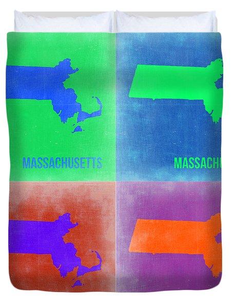 Massachusetts Pop Art Map 2 Duvet Cover by Naxart Studio