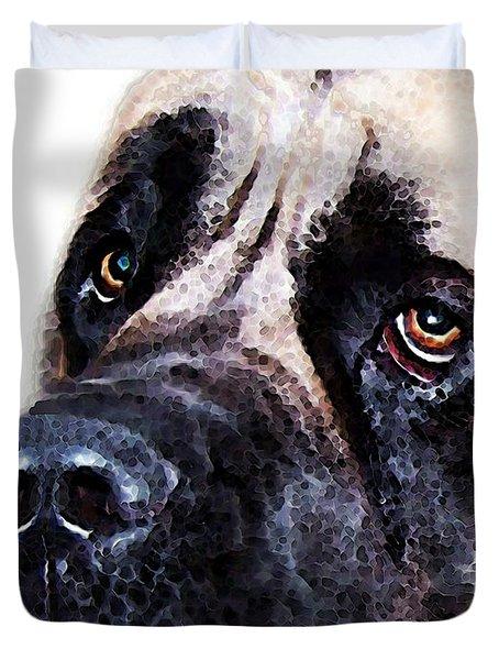 Mastiff Dog Art - Sad Eyes Duvet Cover by Sharon Cummings
