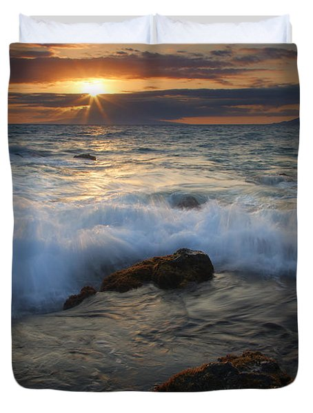 Maui Sunset Spray Duvet Cover by Mike  Dawson