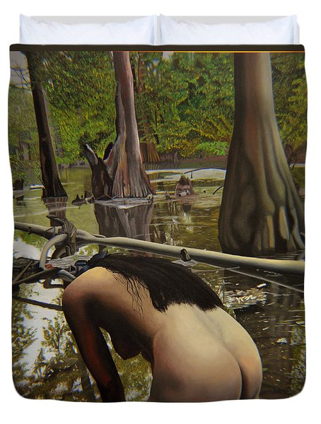 May Morning Arkansas River  2 Duvet Cover by Thu Nguyen