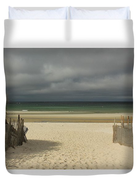 Mayflower Beach Storm Duvet Cover by Amazing Jules