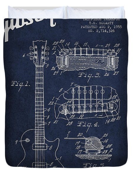 Mccarty Gibson Les Paul guitar patent Drawing from 1955 - Navy Blue Duvet Cover by Aged Pixel