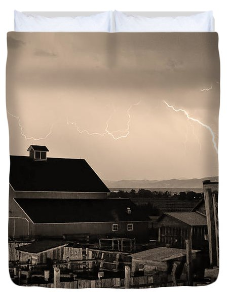 McIntosh Farm Lightning Sepia Thunderstorm Duvet Cover by James BO  Insogna