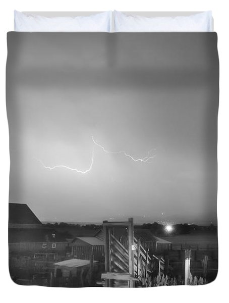 McIntosh Farm Lightning Thunderstorm View BW Duvet Cover by James BO  Insogna