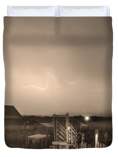 McIntosh Farm Lightning Thunderstorm View Sepia Duvet Cover by James BO  Insogna