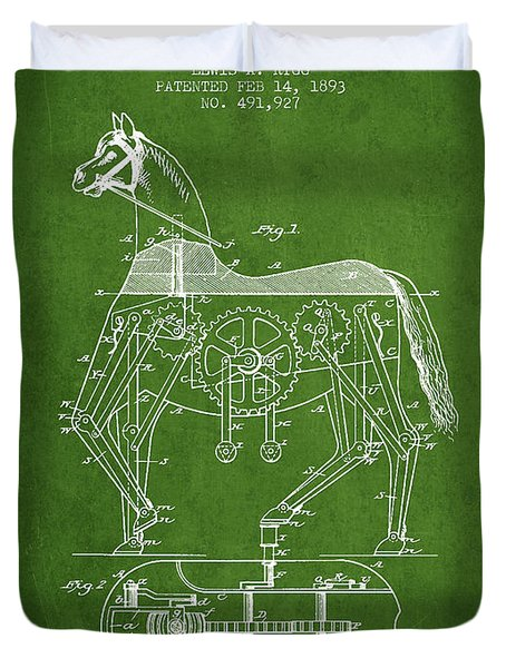 Mechanical Horse Patent Drawing From 1893 - Green Duvet Cover by Aged Pixel