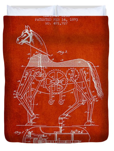Mechanical Horse Patent Drawing From 1893 - Red Duvet Cover by Aged Pixel