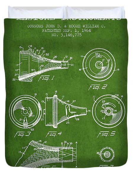 Medical Instrument Patent From 1964 - Green Duvet Cover by Aged Pixel