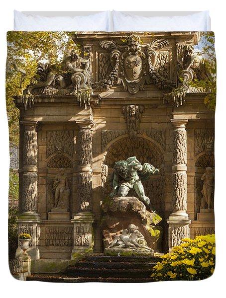 Medici Fountain - Paris Duvet Cover by Brian Jannsen