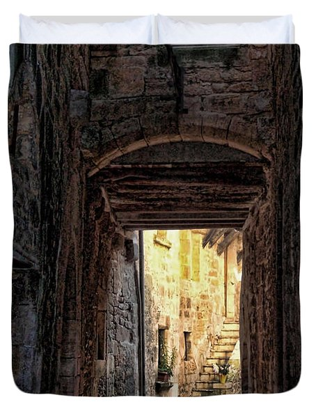Medieval Alley Duvet Cover by Joan  Minchak
