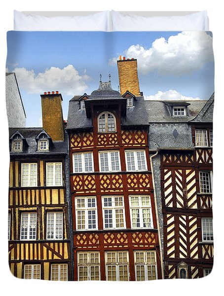 Medieval houses in Rennes Duvet Cover by Elena Elisseeva