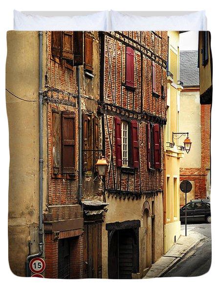 Medieval street in Albi France Duvet Cover by Elena Elisseeva