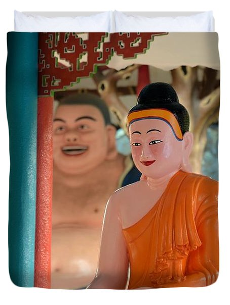 Meditating Buddha In Lotus Position Duvet Cover by Imran Ahmed