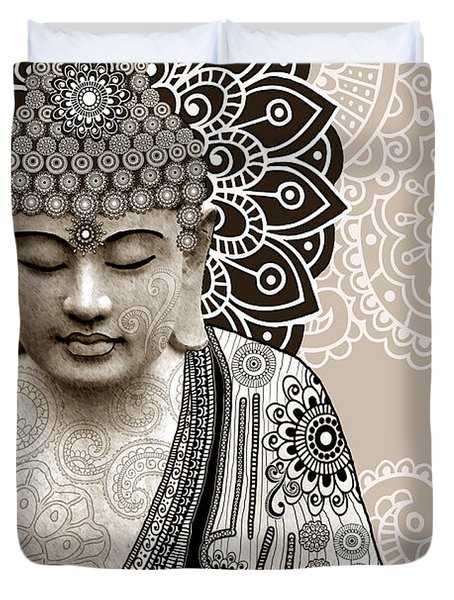 Meditation Mehndi - Paisley Buddha Artwork - copyrighted Duvet Cover by Christopher Beikmann