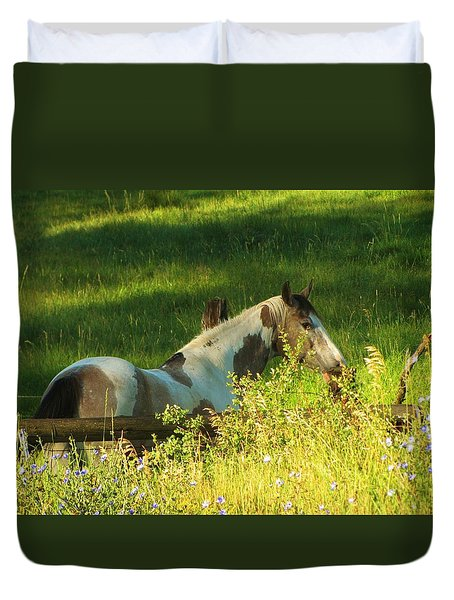 Meet Me At The Fence Duvet Cover by Feva  Fotos