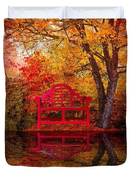Meet Me At The Pond Duvet Cover by Debra and Dave Vanderlaan