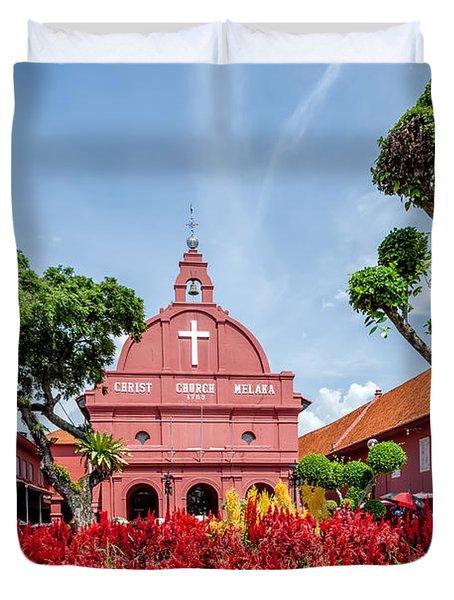 Melaka Red Square Duvet Cover by Adrian Evans