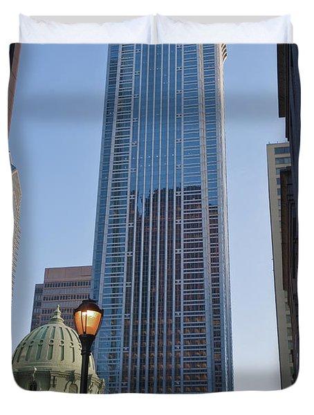 Mellon Bank Center Penn Center Market West Skyscrapers Phila Pa Duvet Cover by David Zanzinger