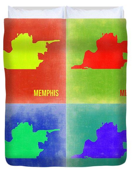 Memphis Pop Art Map 2 Duvet Cover by Naxart Studio