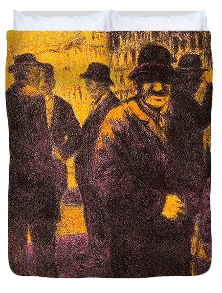Men In Orange Light Duvet Cover by Kendall Kessler