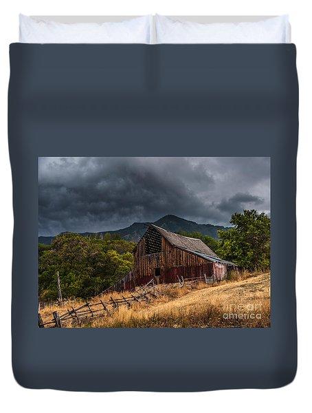 Mendon Utah Barn In Storm Duvet Cover by Gary Whitton