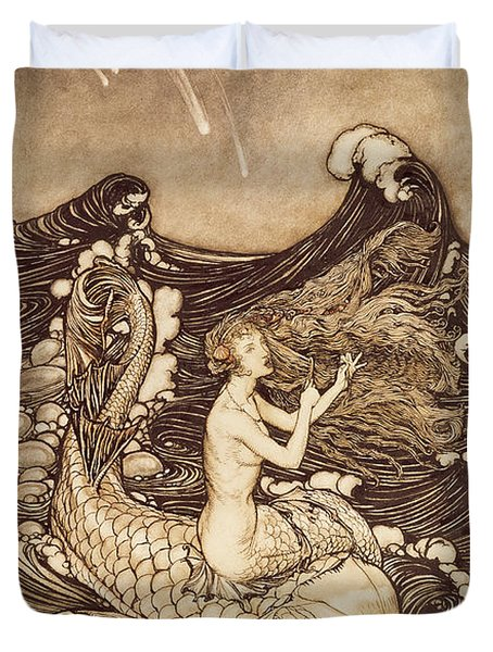 Mermaid And Dolphin From A Midsummer Nights Dream Duvet Cover by Arthur Rackham