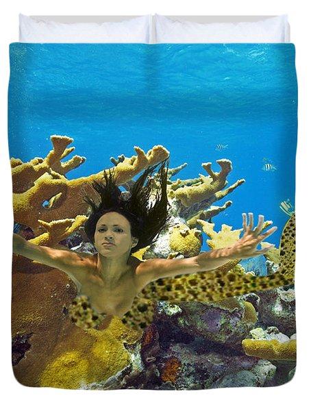 Mermaid Camoflauge Duvet Cover by Paula Porterfield-Izzo