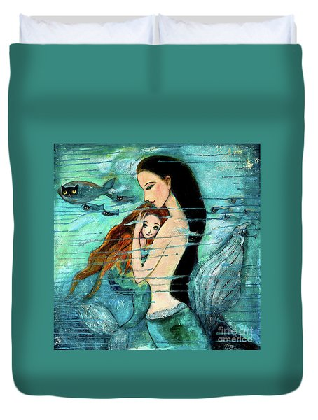Mermaid Mother and Child Duvet Cover by Shijun Munns