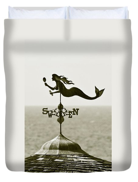 Mermaid Weathervane In Sepia Duvet Cover by Ben and Raisa Gertsberg