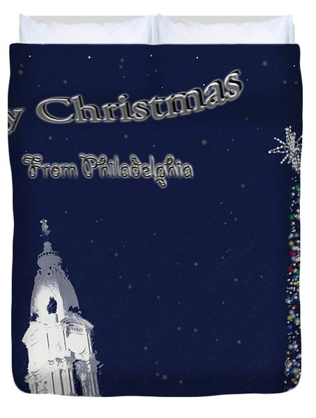 Merry Christmas From Philly Duvet Cover by Photographic Arts And Design Studio