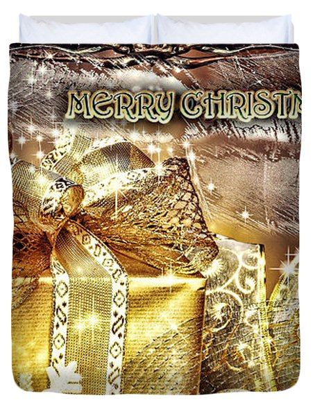 Merry Christmas Gold Duvet Cover by Mo T