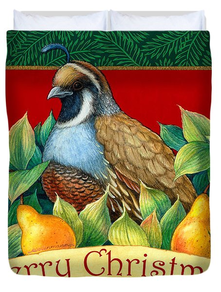 Merry Christmas Partridge Duvet Cover by Randy Wollenmann