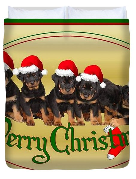 Merry Christmas Rottweiler Puppies Greeting Card Duvet Cover by Tracey Harrington-Simpson