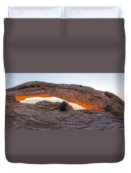 Mesa Arch Sunrise Panorama - Canyonlands National Park - Moab Utah Duvet Cover by Brian Harig