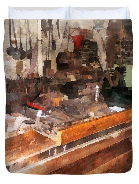 Metal Machine Shop Duvet Cover by Susan Savad