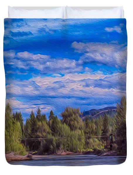 Methow River Crossing Duvet Cover by Omaste Witkowski