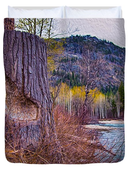 Methow Riverbank Duvet Cover by Omaste Witkowski