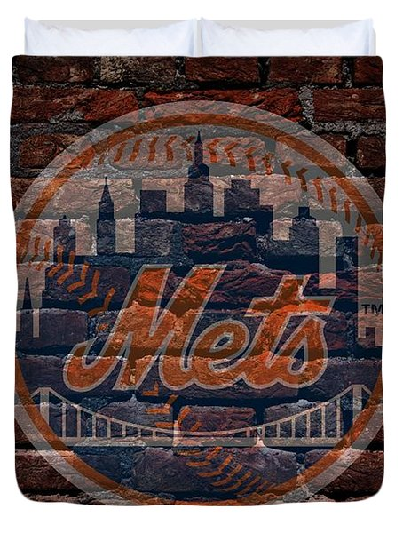 Mets Baseball Graffiti on Brick  Duvet Cover by Movie Poster Prints